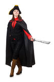 The female pirate in black coat holding sword Stock Images