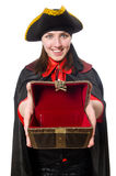 The female pirate in black coat holding treasure Stock Photos