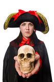 The female pirate in black coat isolated on white Royalty Free Stock Photo