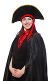 Female pirate in black coat isolated on white Royalty Free Stock Photography