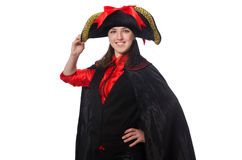 Female pirate in black coat isolated on white Royalty Free Stock Image