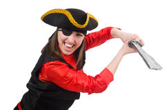 The female pirate holding sword isolated on white Stock Photo