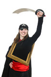 The female pirate with sword and photo frame Royalty Free Stock Photo