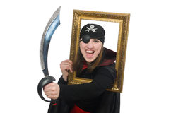 The female pirate with sword and photo frame Stock Photography