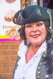 Female pirate at Tortuga Festival Whitby. Woman pirate at Tortuga Festival Whitby on 21st July 2017 collecting funds for Yorkshire Air Ambulance Service royalty free stock photography