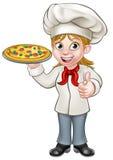 Female Pizza Chef Cartoon Character Stock Photo