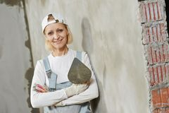 Female plasterer portrait Stock Images