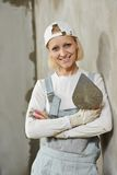 Female plasterer portrait Stock Photography