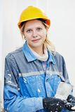 Female plasterer portrait Stock Image