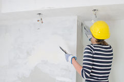 Female plasterer Stock Photos