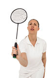 Female player playing badminton Stock Photo