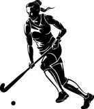 Female Playing Field Hockey in Front View. Isolated illustration of an athlete playing field hockey in silhouette form stock illustration