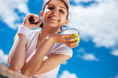 Female playing tennis Royalty Free Stock Photography