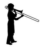 Female playing trombone Royalty Free Stock Images