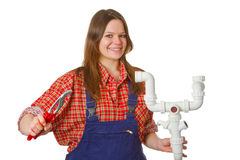 Female plumber royalty free stock photos