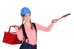 Female plumber ready to work Royalty Free Stock Photos