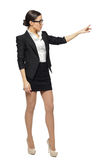 Female pointing at blank copy space Royalty Free Stock Photo