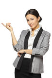 Female pointing at blank copy space Royalty Free Stock Images