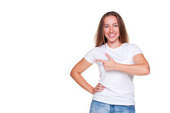 Female pointing at copyspace Stock Photography