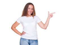 Female pointing at empty copyspace Royalty Free Stock Images