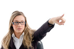 Female pointing and wearing eyewear Stock Photography