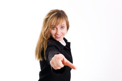 Female pointing at you. Royalty Free Stock Photos