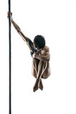 Female pole dancer with body-art on pylon Stock Photography