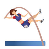 Female Pole vaulting. Woman vaulter, sportswoman. Vector illustration, isolated on white. Stock Photography
