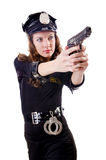Female police. Isolated on the white Royalty Free Stock Photo