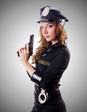 Female police against the gradient Royalty Free Stock Photo