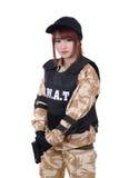 Female police in combat uniform with handgun. Female police in combat uniform with handgun in her hand on white background Stock Photos