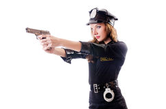 Female police isolated. On the white Royalty Free Stock Images