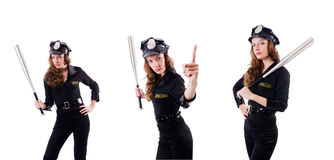 The female police isolated on the white Royalty Free Stock Images