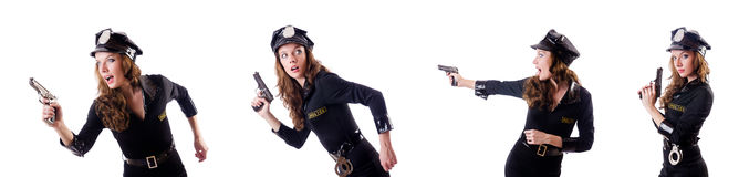The female police isolated on the white Royalty Free Stock Photography