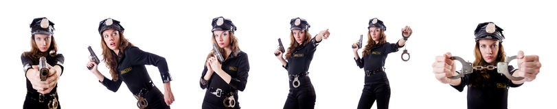 The female police isolated on the white Stock Images