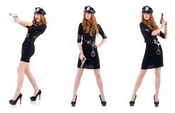 The female police office isolated on the white Royalty Free Stock Images