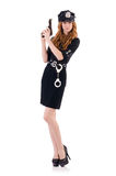 Female police office. Isolated on the white Royalty Free Stock Images