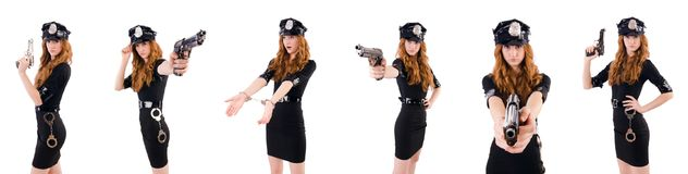 The female police office isolated on the white. Female police office isolated on the white Royalty Free Stock Photography