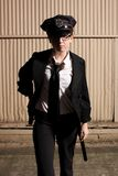 Female police officer. At night Stock Image
