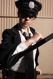 Female police officer. At night Royalty Free Stock Images