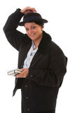 Female police officer. Holding her little hat Royalty Free Stock Photos