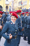Female police officer in red beret Stock Image