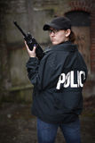 Female Police Officer with rifle Royalty Free Stock Photos