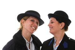Female police officers. Two female police officers having fun together Royalty Free Stock Images
