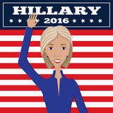 Female political candidate. Vector illustration of american election for first woman candidate. Orator speech on usa election.First lady president in blue suit Royalty Free Stock Photo