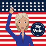 Female political candidate. Vector illustration of american election for first woman candidate. Orator speech on usa election.First lady president in blue suit Stock Photo
