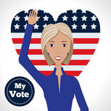 Female political candidate. Vector illustration of american election for first woman candidate.Woman orator speech on usa election 2016.First lady president in Royalty Free Stock Images