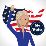 Female political candidate. Vector illustration of american election for first woman candidate.Woman orator speech on usa election.First lady president in blue Royalty Free Stock Photos