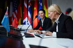 Female politicians at summit Royalty Free Stock Photography