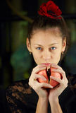 Female with the pomegranate Royalty Free Stock Photo